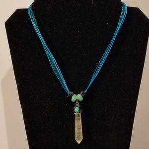Rock Crystal Pave Crystal Pendulum Necklace